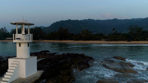 Aerial video of the lighthouse in the evening. Aerial. Khao Lak. Thailand