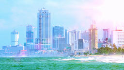 Beautiful view on urban area of modern town from sandy coast. Colombo, Sri Lanka Footage
