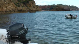 Europe Spain Balearic Ibiza coves and landscapes 004 boats in es torrent bay Footage