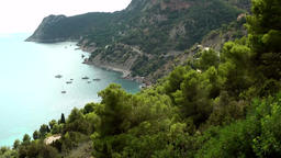 Europe Spain Balearic Ibiza coves and landscapes 006 Es Cubells panoramic scene Footage
