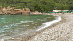 Europe Spain Balearic Ibiza coves and landscapes 016 beach of Cala Benirras Footage
