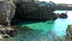 Europe Spain Balearic Ibiza coves and landscapes 025 the cave from Rocas Malas Footage