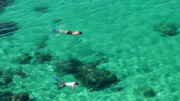 Europe Spain Balearic Ibiza coves and landscapes 029 snorkeling in clear water Footage
