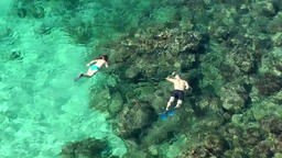 Europe Spain Balearic Ibiza coves & landscapes 030 snorkeling over stony seabed Footage