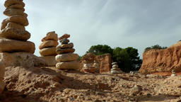 Europe Spain Balearic Ibiza coves and landscapes 048 stone stacks in rock bay Footage