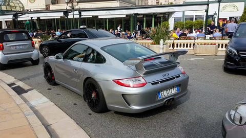 Porsche 911 GT3 in Monte-Carlo Monaco Filmmaterial