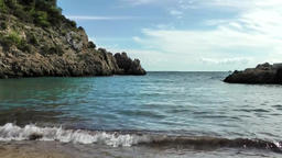 Europe Spain Balearic Ibiza coves and landscapes 067 small bay with algae Footage