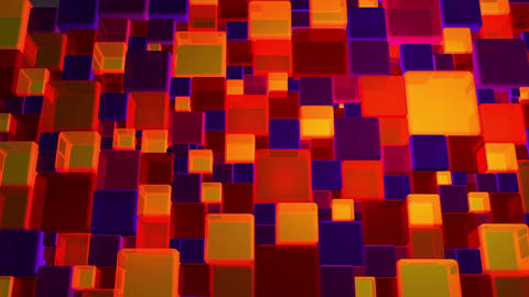 Neon Red And Violet Lights Cubes Background In 4k Animation