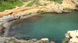 Europe Spain Balearic Ibiza coves and landscapes 075 above Cala Olivera bay Footage