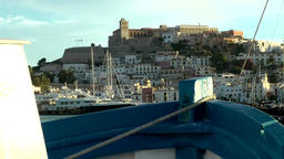Europe Spain Balearic Ibiza towns and villages 079 castle seen from a ship Footage