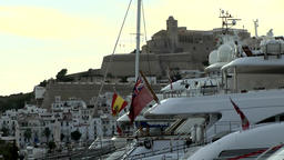 Europe Spain Balearic Ibiza towns and villages 080 yachts in front of the castle Footage