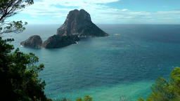 Europe Spain Balearic Ibiza coves and landscapes 084 rock island Es Vedra Footage