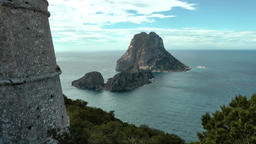 Europe Spain Balearic Ibiza coves and landscapes 085 part of pirate tower Footage