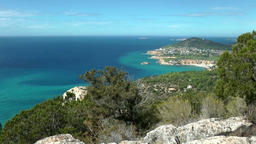 Europe Spain Balearic Ibiza coves and landscapes 090 Cala d'Hort panoramic view Footage