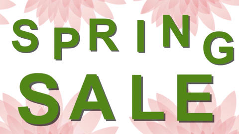 Spring sale animated banner with beautiful pink flowers on green background, Ful Animation