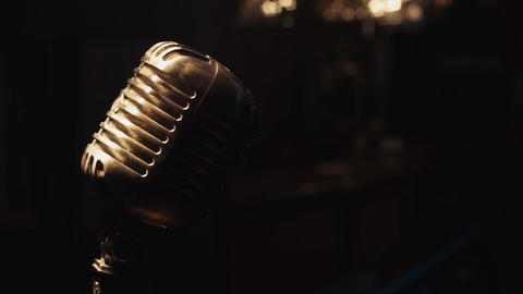 Concert microphone stay on stage under spotlight.... Stock Video Footage