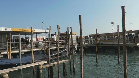Venice, Italy ACTV public transport water bus service stop Live Action