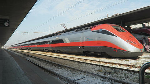 Venice, Italy Trenitalia High Speed Train Frecciarossa Filmmaterial