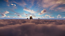 Military helicopters formation cruising above sunset clouds Animation