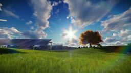 Solar pannels, time lapse clouds Animation