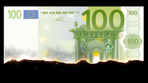 Burning 100 Euro Footage