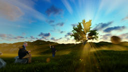 Little boy with airplane and grandfather resting on green meadow at sunset, pann Animation