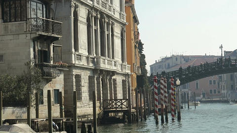 Venice, Italy sailing boat view of Grand Canal buildings Live Action