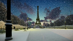 Wonderful view Eiffel Tower in Paris at sunset, snowing, panning Animation