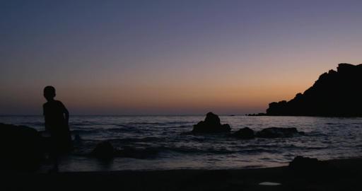 Silhouette Child Sea Sunset Footage