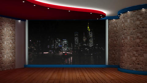 HD News-65 TV Virtual Studio Green Screen Background with Nightcity Animation