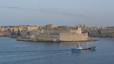 Malta Valletta fortress time lapse with ships motion Footage