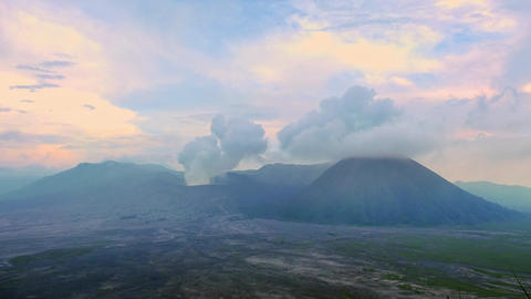 Volcanic activity of Mount Bromo, Tengger Semeru national park, East Java, Indon Footage