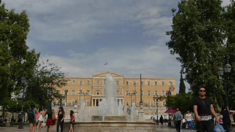 Syntagma square in Athens with parliament view time lapse Footage