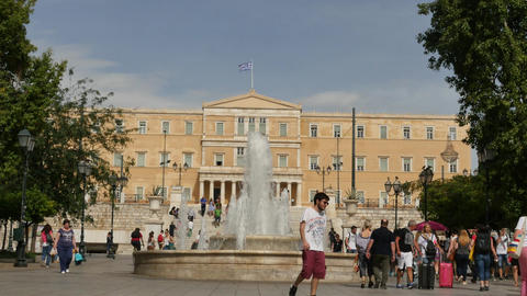 Greek Parliament building on Syntagma square - follow focus Footage