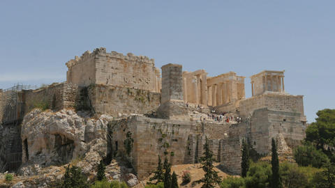 Acropolis in Athens of Greece with tourist afar - time lapse Footage