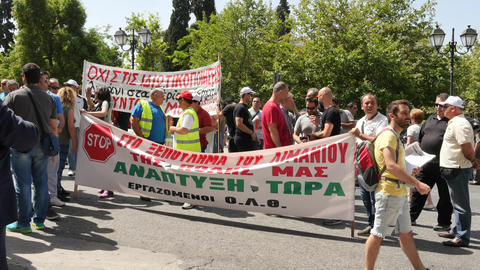 may 2016 . Greek People with banners protests in Athens center Footage