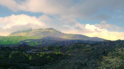 Mount Batur volcano lava rock. Bali, Indonesia Footage