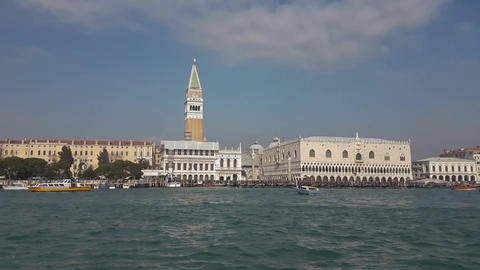 Venice, Italy Piazza San Marco and Doges Palace Grand Canal sea view with boats Footage