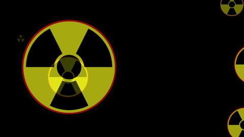 Radioactive danger sign. Many of the radiation warning signs are flying at the v Animation