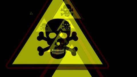 Hazard symbol. Many of the danger warning signs chaotically flying animation loo Animation