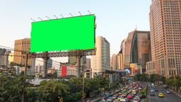 The opening pair of blank billboards in a city Footage
