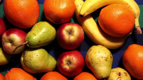 Assortment different fruit vegetarian diet stop motion Animation
