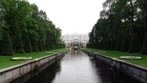 Nice Marine Canal perspective at evening, Peterhof lower gardens Footage