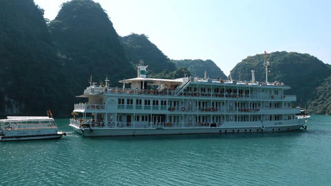 Cruise ship traversing through HaLong Bay Footage