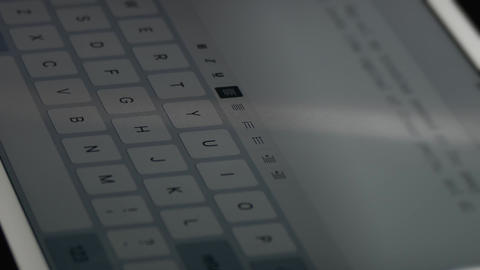 4K Man Typing Text on Electronic Tablet Using Screen Keyboard Footage
