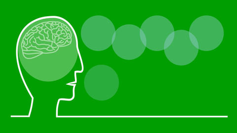 Think green, animated illustration in line art style, head with pulsing brain, c Animation