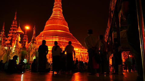 People praying near Shwedagon Pagoda in Yangon of Myanmar hyper lapse Footage