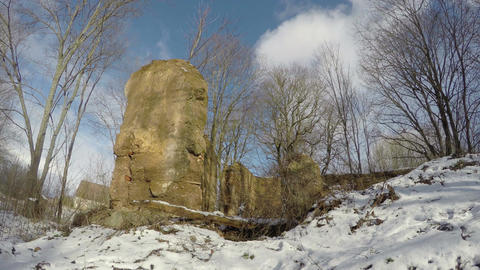 Historical manor estate ruins covered snow, time lapse 4K Footage