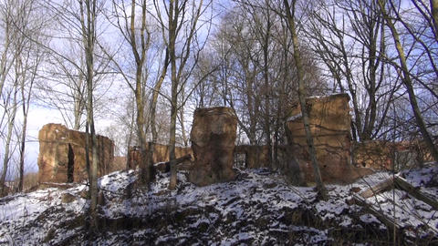 Old manor estate ruins covered winter snow panorama Footage