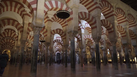 CORDOBA, SPAIN - ENERO 21, 2017: Interior shot of 'Mezquita-catedral de Cordoba' Footage